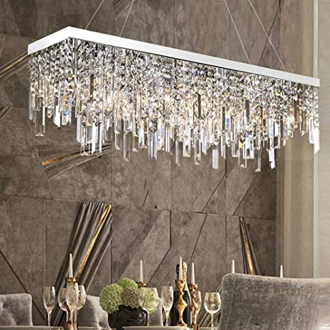 Moooni Contemporary Rectangle Crystal Chandelier Modern Linear Rectangular Pendant Lighting Fxiture For Dining Rooms Kitchen Island L31 5 X W8 6 Lights Amazon Com