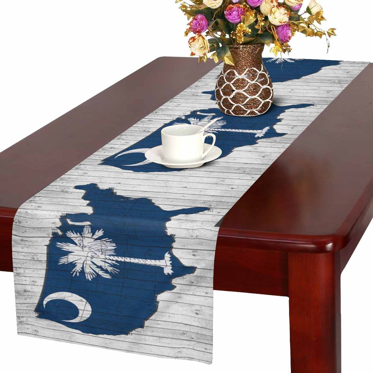 InterestPrint South Carolina Flag with America Map on Wood Background Table Runner Cotton Linen Cloth Placemat Home Decor for Home Kitchen Dining Wedding Party 16 x 72 Inches