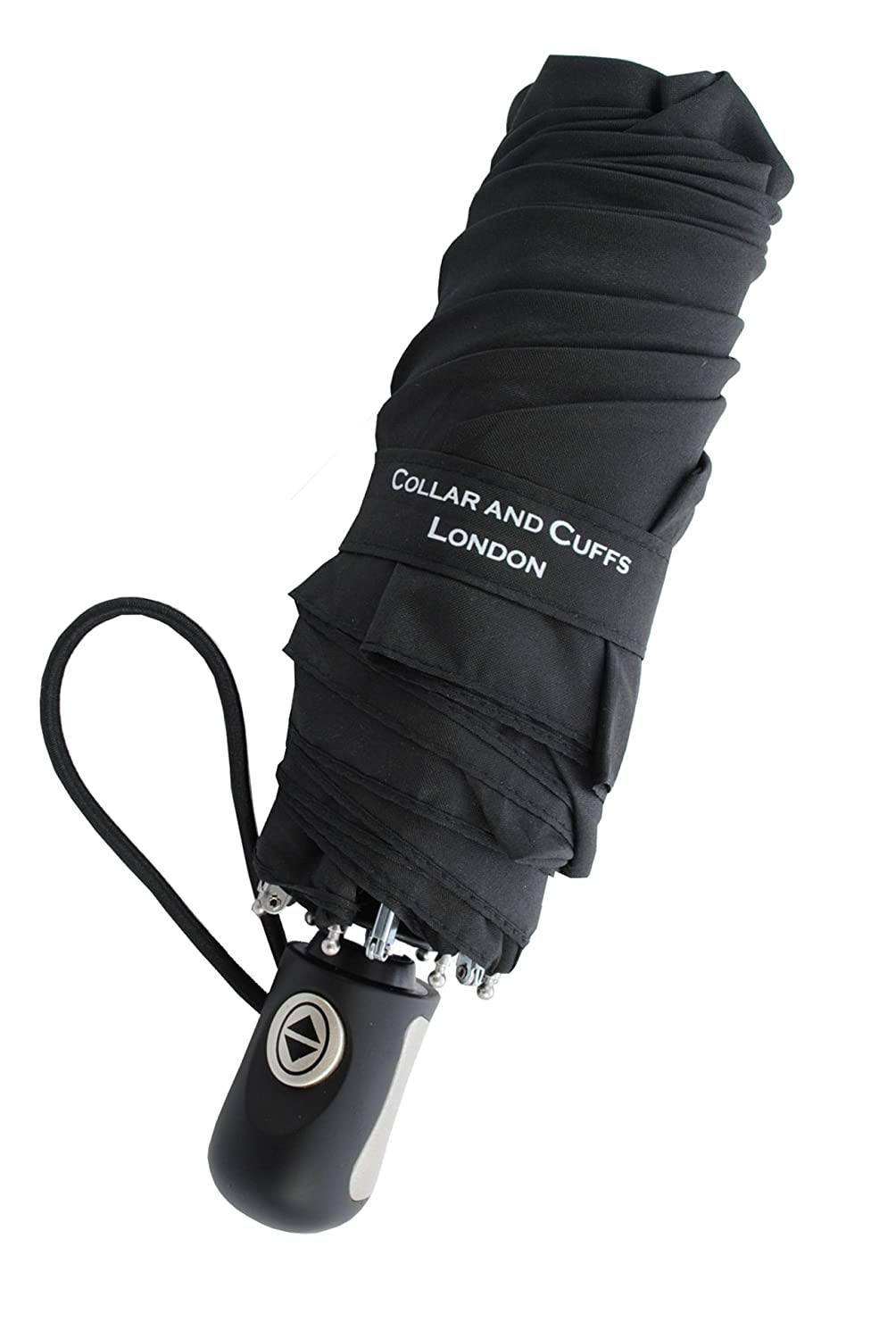 Collar and Cuffs London - Windproof Strong - Rare Mini Umbrella with AUTO Open and Close - Just 21cm When Closed - Compact Folding Umbrella - Small - Black CCLSTORMPUMB10265