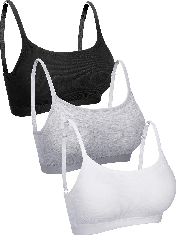 3 Pieces Mini Camisole Bra Wireless Padded Bra Tank Top Bra Seamless Sports Bra with Straps for Women Girls at  Women's Clothing store