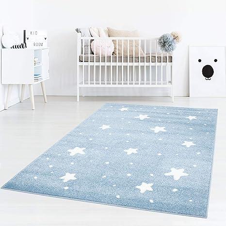 Kinderteppich Kinderzimmer Teppich Bär Wolken Stern-Angeln Grau-Weiß-Blau