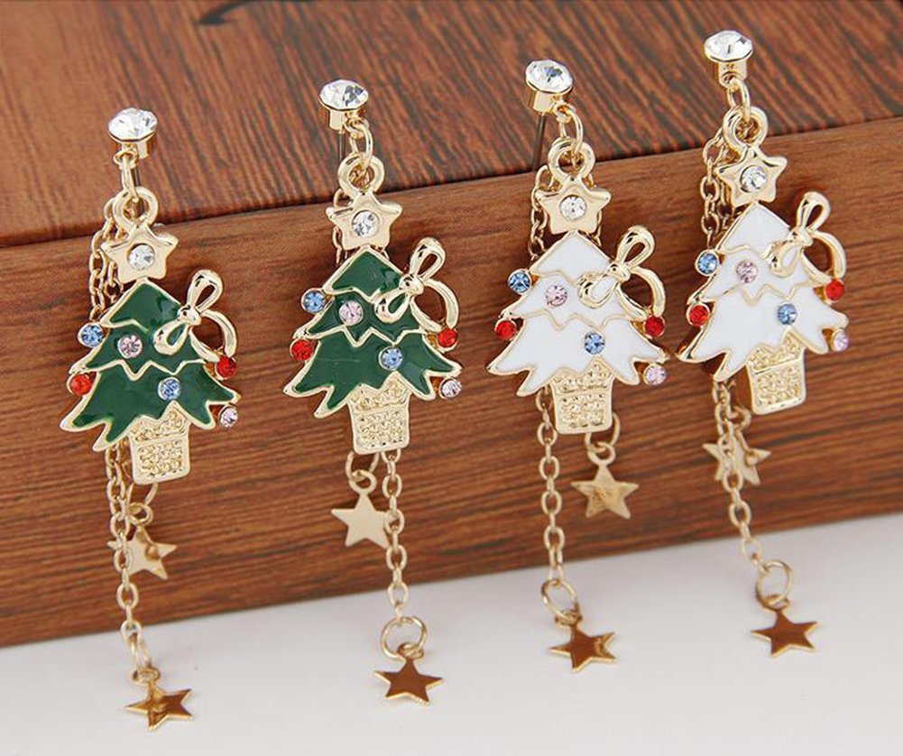 Qinlee Ohrh/änger Weihnachtsbaum Modeschmuck Ohrringe Glitzer s/ü/ße Weihnachts-Ohrringe Weihnachtsbaum Wei/ß