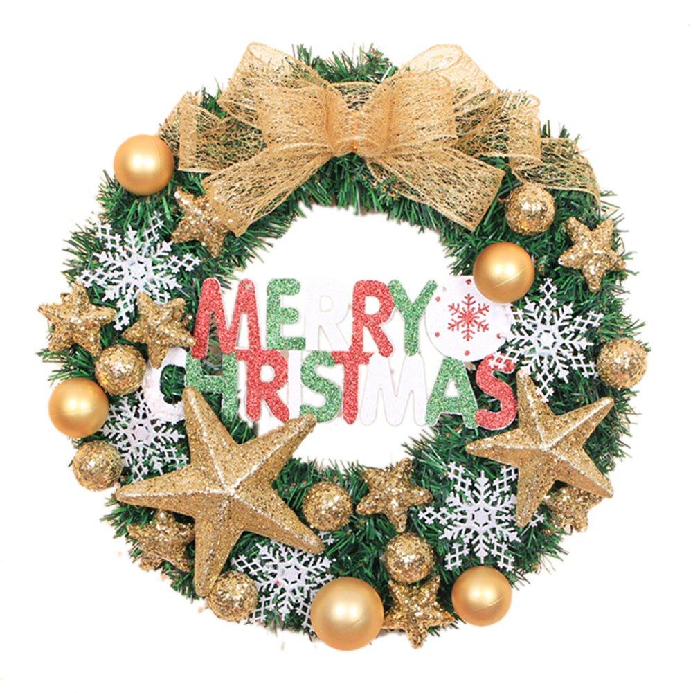 Merry Christmas Christmas Wreath Garland Ornaments Arcades Hotel Christmas Decorations (gold)