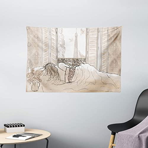Ambesonne Paris Tapestry, Parisian Woman Sleeping with The View of Eiffiel Tower from Window Romance Skecthy Modern, Wide Wall Hanging for Bedroom Living Room Dorm, 60 X 40 , Cream