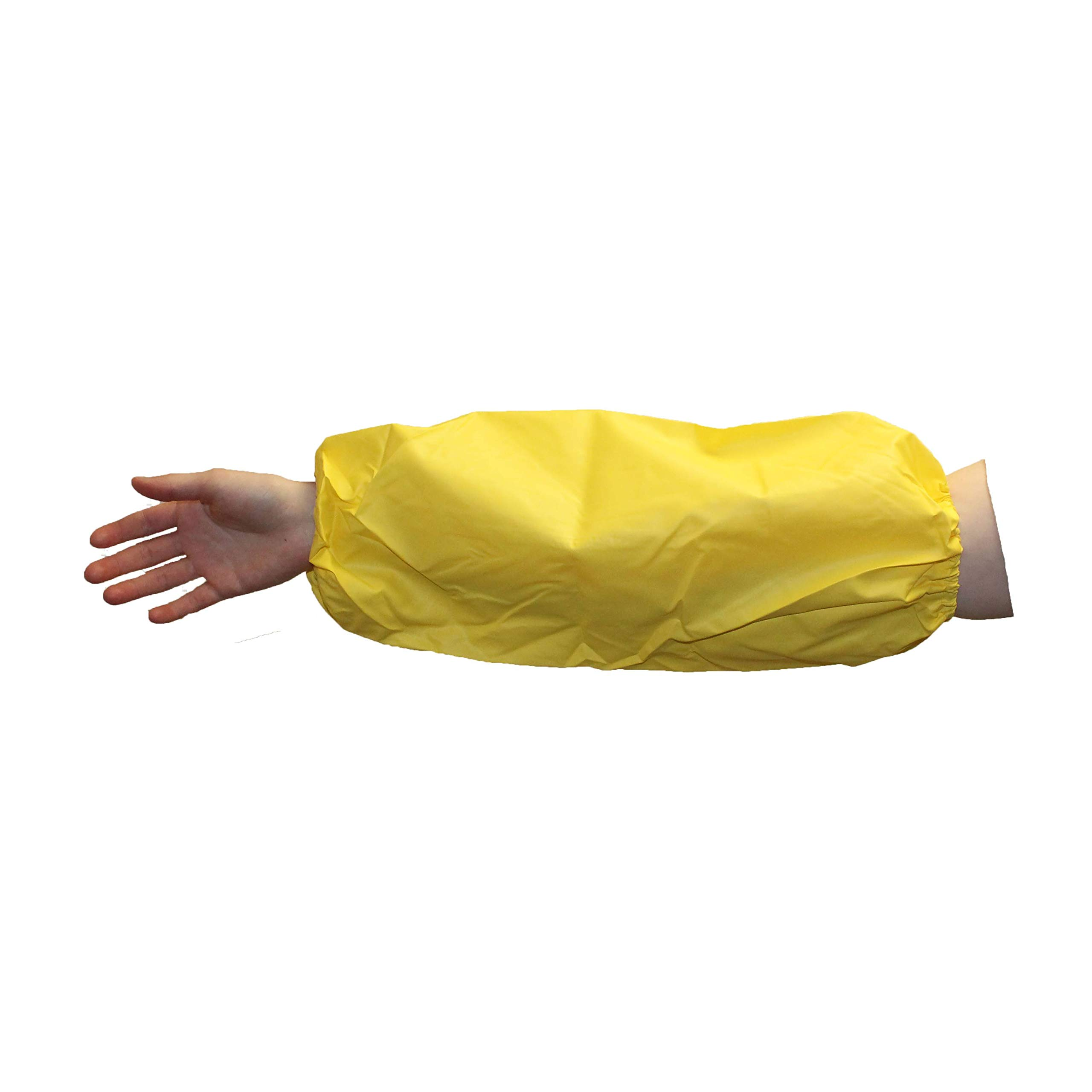 24 Pcs Urethane Waterproof Sleeves 18'' Long, Chemical Resistant Arm Covers Protective Plastic Oversleeves 6 Mil Thick with Elastic Ends, Latex Free, Yellow, Chemical Processing, Food Safe by C2 Eco Supplies