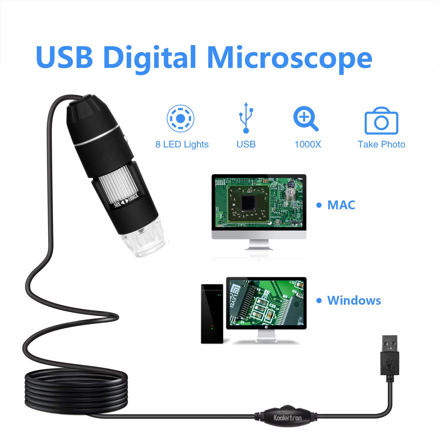 100X Magnification Opti-Tekscope OT-S7 7 Digital LCD Microscope Camera Magnifier Multi Angle Adjustable Stand Three LED Light Sources Superior 7 Inch High Definition Display