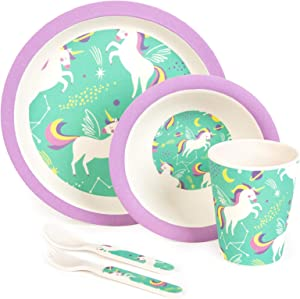 boppi 5-Piece Bamboo Eco Friendly Children's Dinnerware and Cutlery Set for kids Toddlers with Dishwasher Safe and BPA Free Round Plate Fruit Cereal Bowl Juice Cup Beaker Fork and Spoon - Unicorns