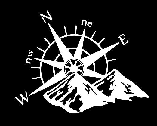 Kompass Berge Aufkleber Weiss Auto