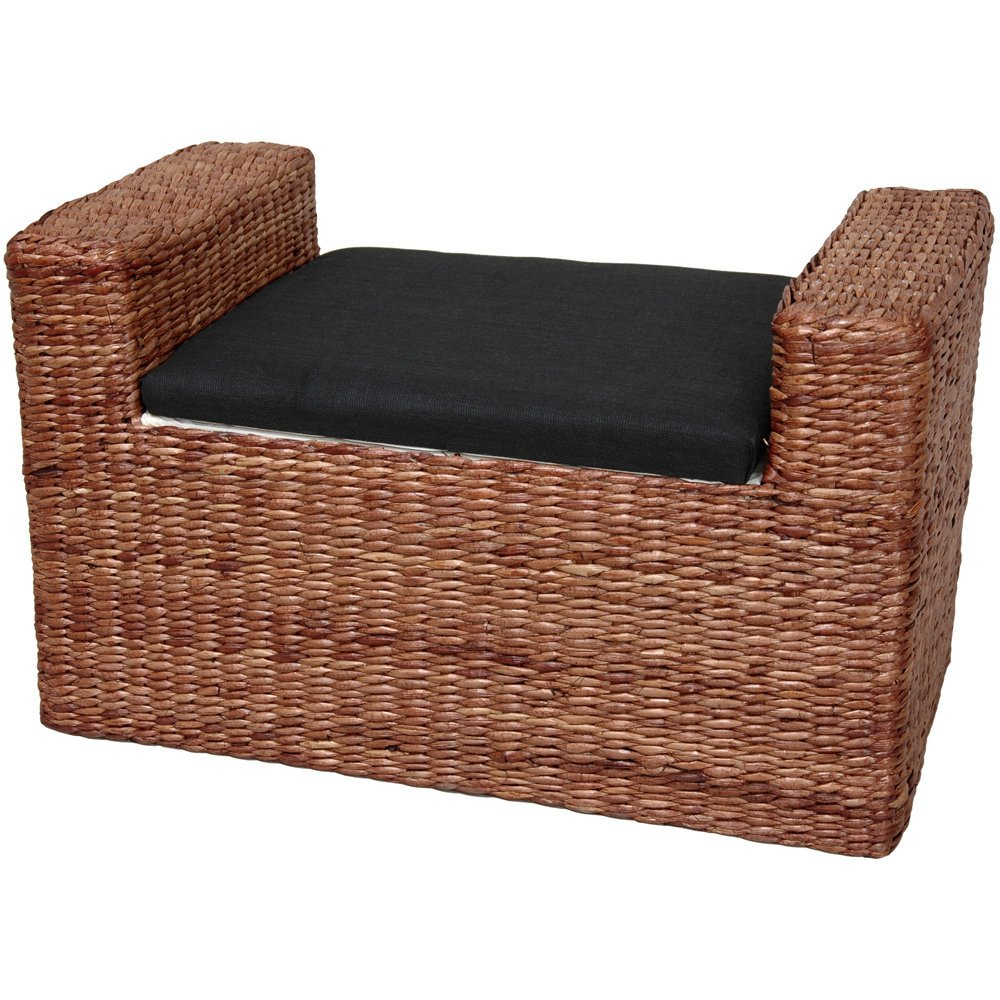 amazoncom oriental furniture rush grass storage bench honey kitchen u0026 dining