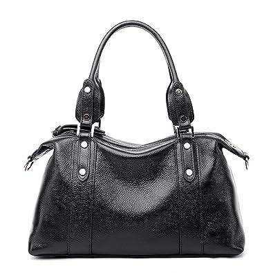1bb654608 PASTE Women's Genuine Leather Handbag OL Cross-body Bag with Rivet Shoulder  Strap (Black