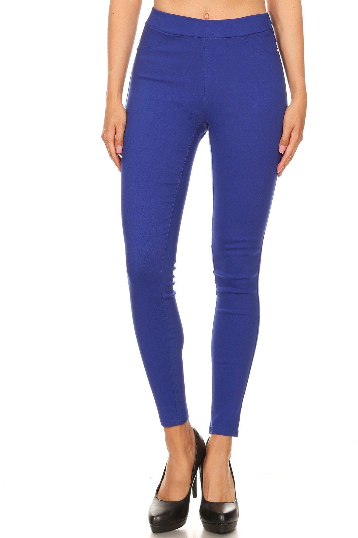 Jvini Women's High Waist Pull-On Skinny Super Stretchy Jeggings & Capris Regular & Plus Size (X-Large, Coba Blue)