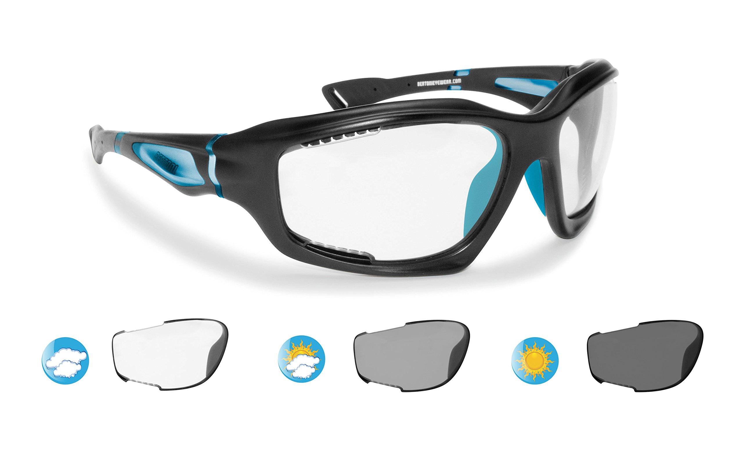 Bertoni Sport Sunglasses Photochromic cat. 0-3 Antifog for Cycling Running Golf Ski Watersports - F1000D1 Wraparound Windproof Glasses (Mat Pearl Black/Mat Blue, Photochromic Antifog)