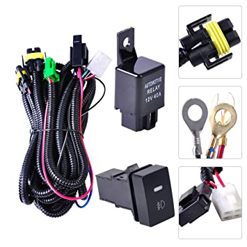 beler H11 Fog Light Lamp Wiring Harness Sockets Wire Switch Kits For on