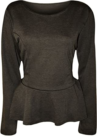 9df8f3c3e894e WearAll Women s Plus Size Plain Long Sleeve Peplum Top - Dark Gray - US 12-