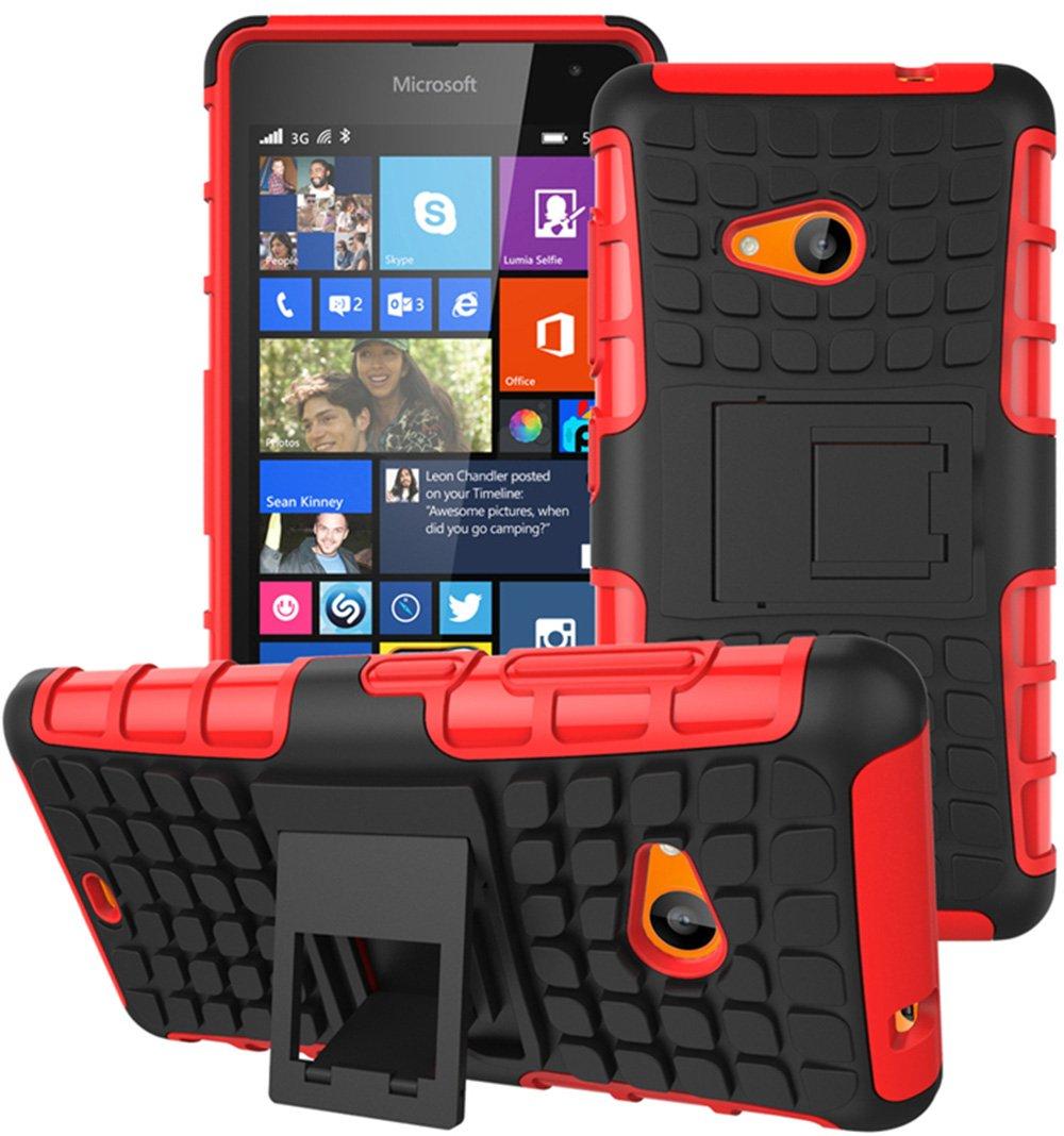 Microsoft Nokia Lumia 535 Hülle Nnopbeclik Hybrid 2in1 TPU+PC Schutzhülle Cover Case Silikon Rüstung Armor Dual Layer Muster Handytasche Backcover 360-Grad-Drehung ständer stoßfest Handy Hülle Tasche Schutz Etui Schale Bumper Pour Microsoft Nokia Lumia 535