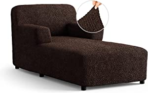 Chaise Lounge Cover - Lounge Sofa Covers - Lounge Chair Cover- Soft Polyester Fabric Slipcovers - 1-Piece Form Fit Stretch Furniture Slipcover - Microfibra Collection - Dark Brown (Chaise Lounge)