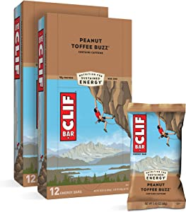 CLIF BARS - Energy Bars - Peanut Toffee Buzz - With Caffeine - Made with Organic Oats - Plant Based Food - Vegetarian - Kosher (2.4 Ounce Protein Bars, 24 Count)