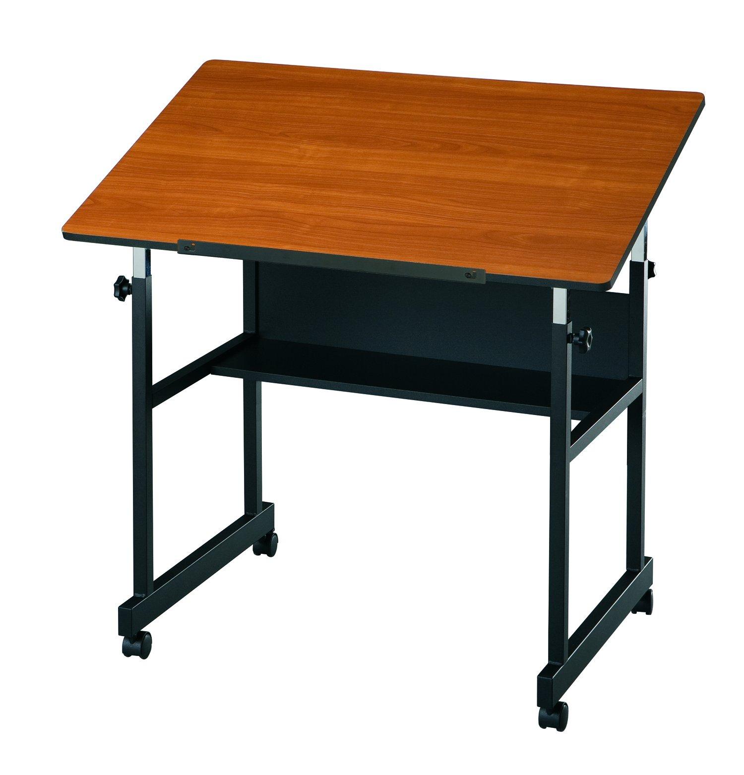 Alvin MM36-3-WBR MiniMaster Table Black Base with Woodgrain Top