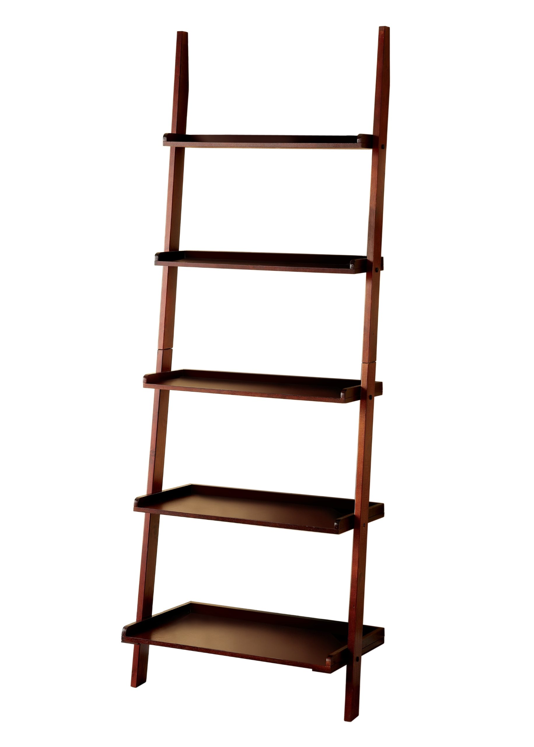 Furniture of America Klaudalie 5-Tier Ladder Style Bookshelf, Cherry