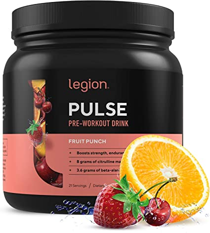 Amazon Com Legion Pulse Best Natural Pre Workout Supplement For Women And Men Powerful Nitric Oxide Pre Workout Effective Pre Workout For Weight Loss Fruit Punch Health Personal Care