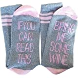 IF YOU CAN READ THIS BRING ME SOME WINE Funny Saying Beer Cotton Crew Socks for Men Women