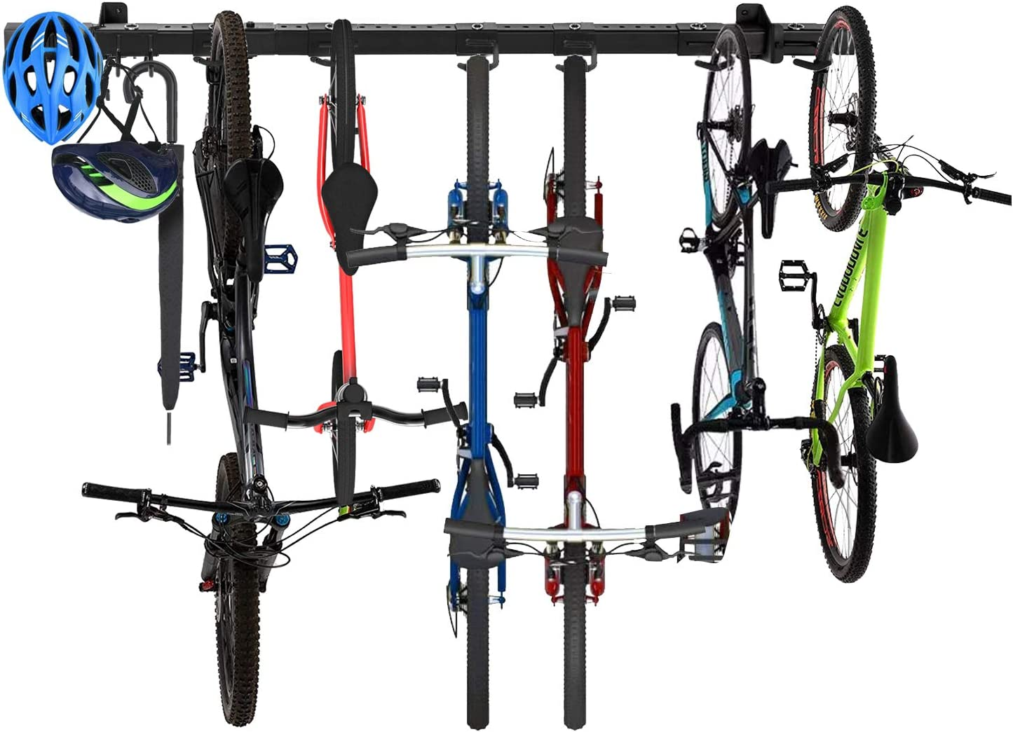 Omreid Tool & Bike Storage Rack,Adjustable Wall Mount Tools Storage System Tools and Bike&Sports Equipment Wall Hanger Mount,Home and Garage ,Hold up to 6 Bicycles (8 hooks, 60 inch)