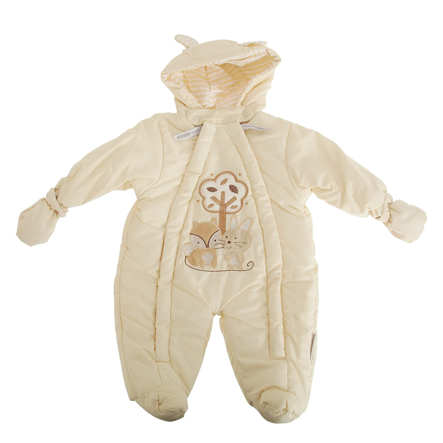 Nursery Time Baby Boys/Girls Fox and Bunny All in One Hooded Winter Snowsuit (Newborn) (Cream) UTBABY1425_1