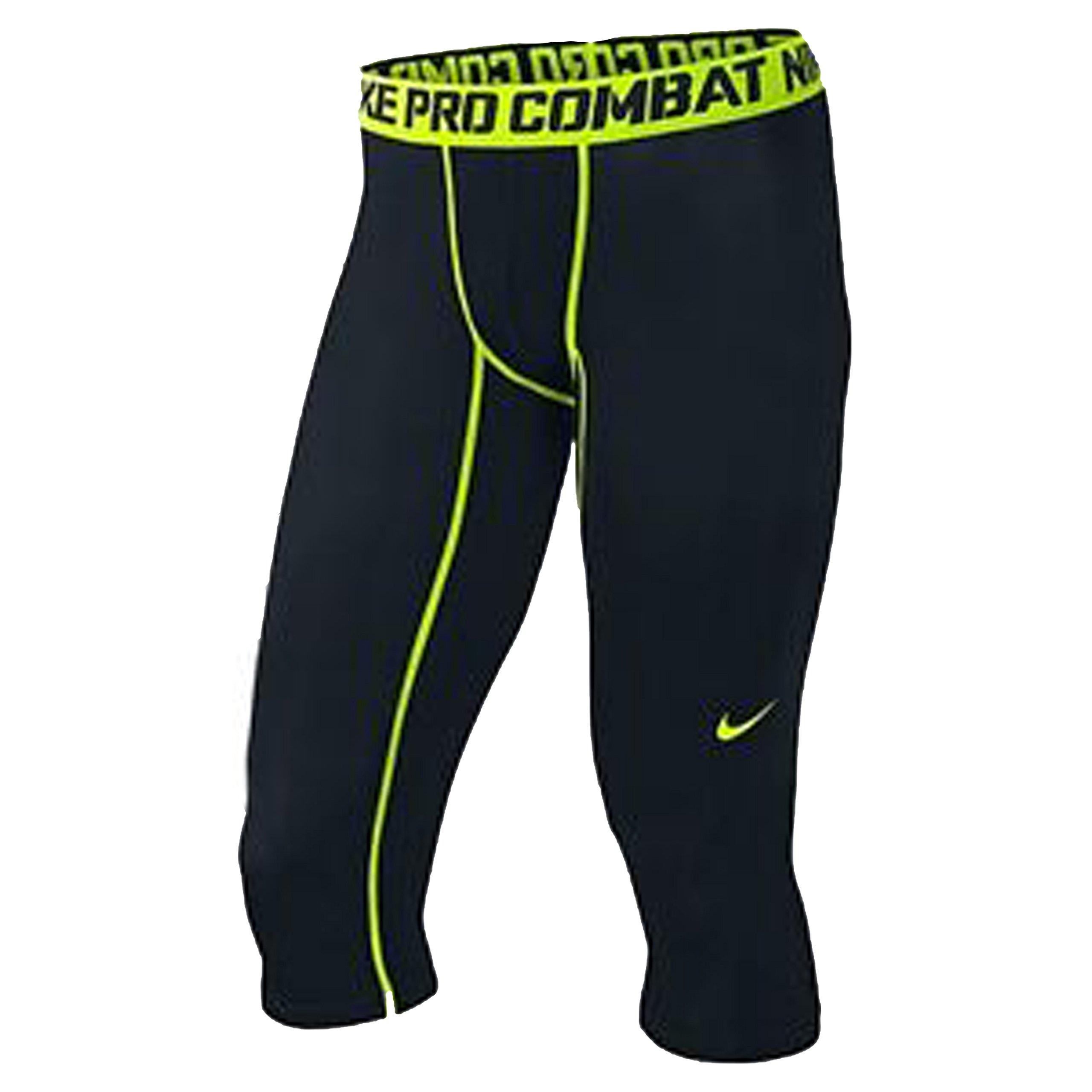 Nike Men's Pro Combat Core Compression 3/4 Tight Black/Volt LG 19 by Nike (Image #1)