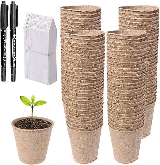 Abimars - Juego de 100 macetas de semillas de fibra biodegradable ...