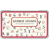 Cavallini Rubber Stamps Alphabet, Assorted with Ink Pad