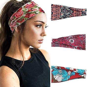 2 Pack Huachi Sports Headbands for Men Women Wicking Wide Elastic Turban Sweatbands Running Workout Moisture Non Slip Headwrap