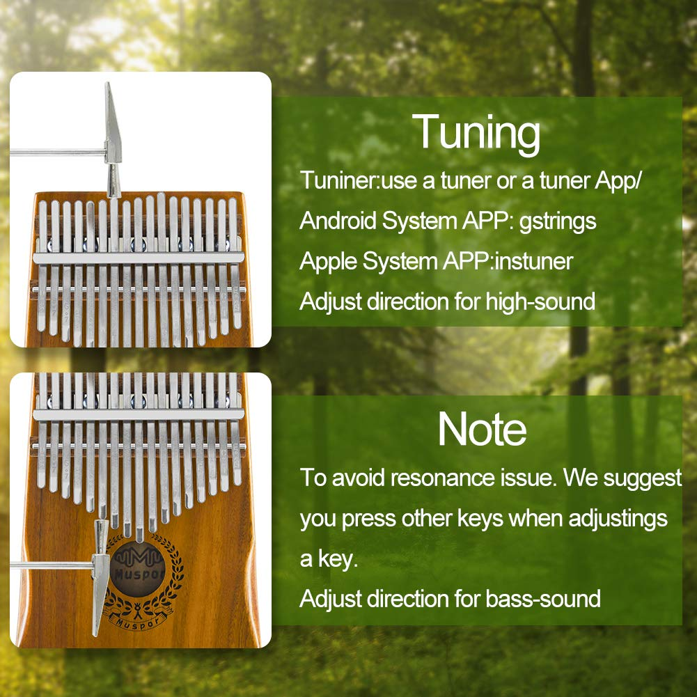 17 Keys Kalimba EQ Thumb Piano Electric Finger Piano Mbira Solid Acacia Wood with Calibrating Tune Hammer and Carry Box, Built-in Pickup and 6.35mm Interface, Perfect Gift for Musical Lovers By VOSTOR by VOSTOR (Image #4)