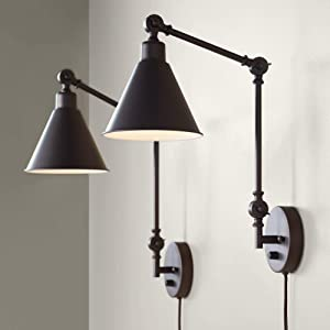 Wray Bronze Metal Plug-in Wall Lamp Set of 2