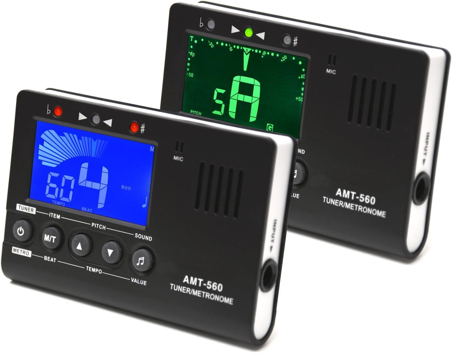 Elagon afinador + metrónomo (AMT-560T) Generador de notas Afinador para todos los instrumentos eléctricos y acústicos. 4 Opciones de afinación: Conexión de instrumento, de enganche tipo clip, afinació