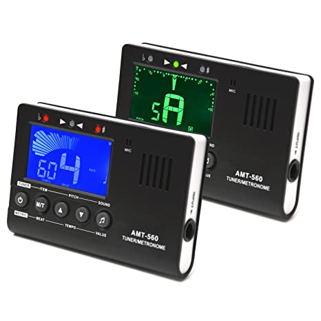 Elagon afinador + metrónomo (AMT-560) Generador de notas Afinador para todos los instrumentos eléctricos y ...