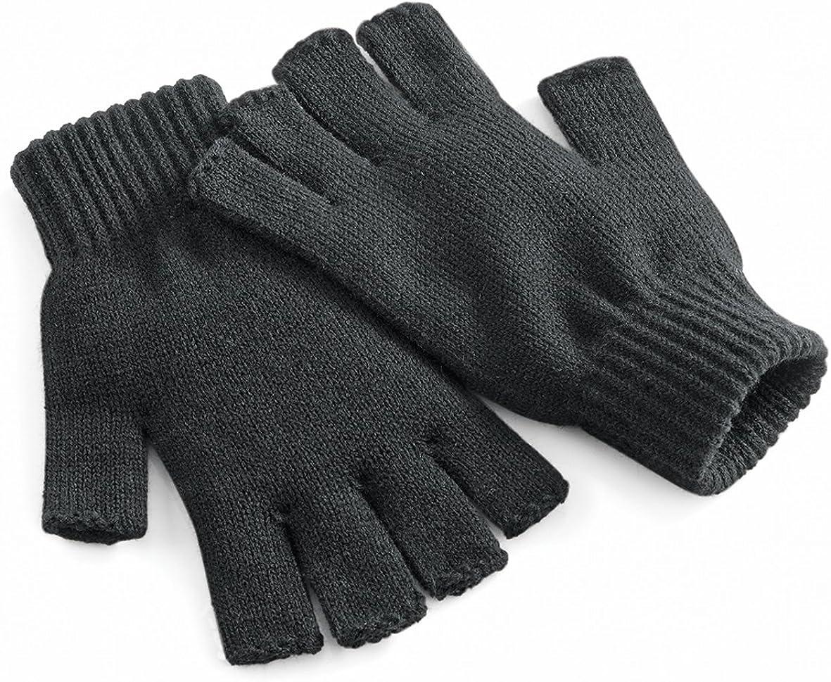 Beechfield Unisex Plain Basic Fingerless Winter Gloves at  Women's Clothing store: Cold Weather Gloves