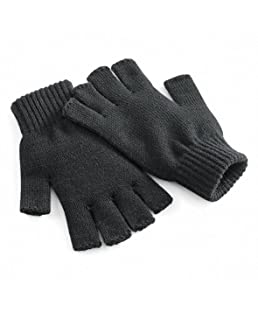 Beechfield Unisex Plain Basic Fingerless Winter Gloves (S/M) (Charcoal)