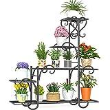 Elekin 8 Tier Metal Shelves Flower Pot Plant Stand Display Indoor Outdoor Garden Patio Plant Rack,Black(8-10 Flowerpots)