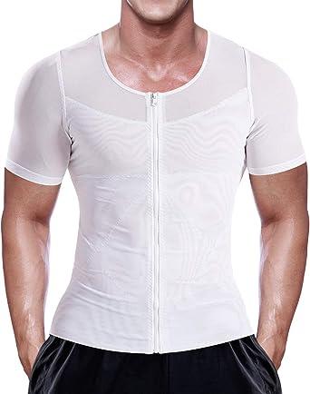 LaLaAreal Faja Reductora para Hombre con Camisa De Compresión con Cremallera Fajas Delgadas