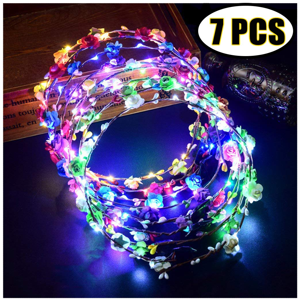 LED Flower Crown, Coxeer 7 PCS Led Flower Wreath Headband Luminous 10 Led Flower Headpiece Flower Headdress For Girls Women Wedding Festival Holiday Christmas Halloween Party