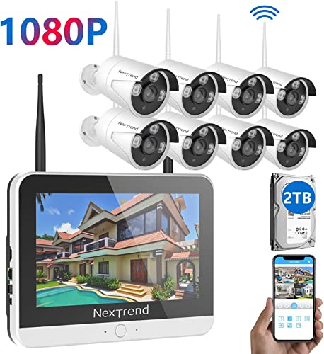 Security Camera System with Monitor, NexTrend 8 Channel 1080P Video Security System with 12 Inch Screen 2TB Hard Drive , 8 Indoor Outdoor Waterproof Security Cameras, Plug Play Free P2P