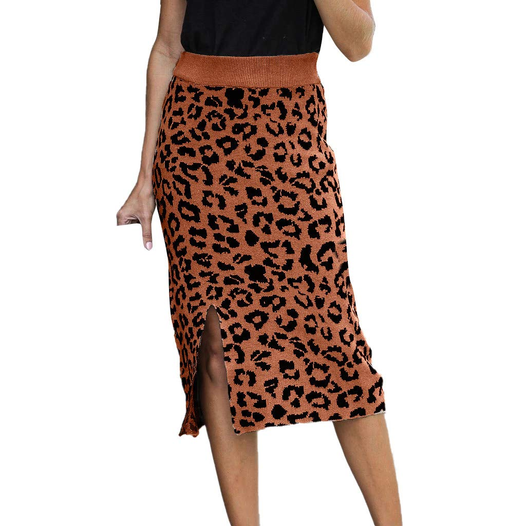 SHUSUEN Women's Elastic Waist Stretch Bodycon Knee Length Leopard Print Pencil Skirt Khaki by SHUSUEN