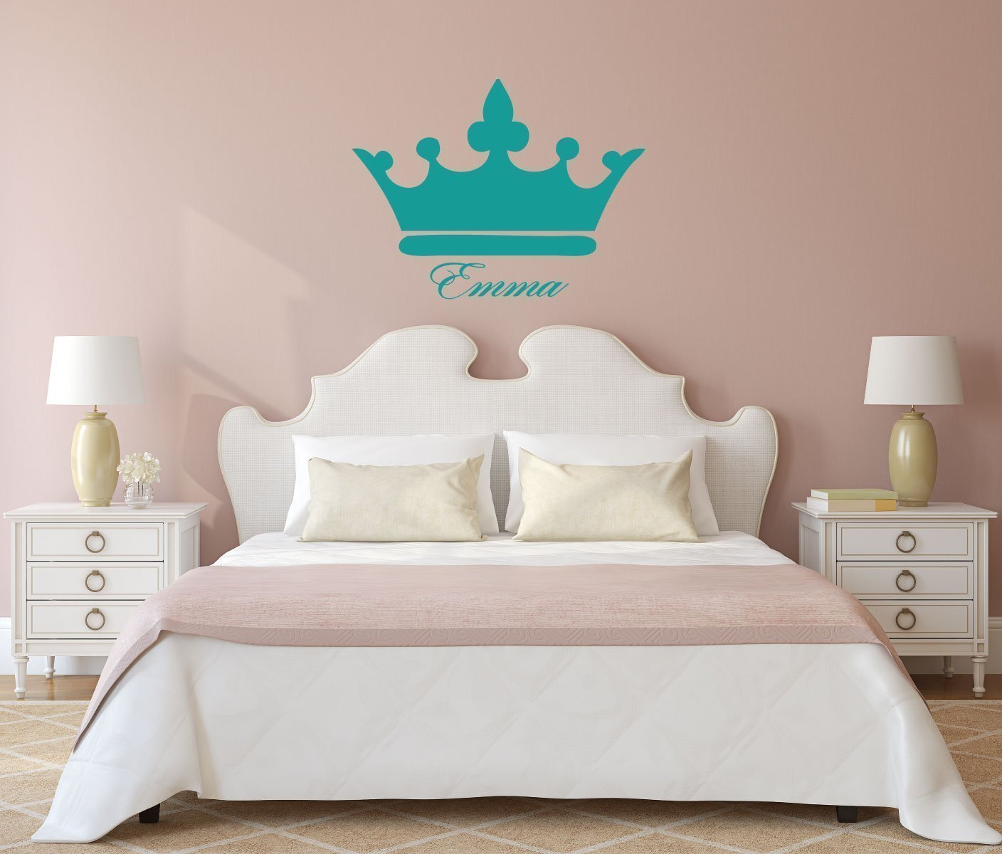 Name Wall Decals for Girls Princess or Queen Crown With Custom Name Vinyl Art Decor for Babies Kids and Teenagers