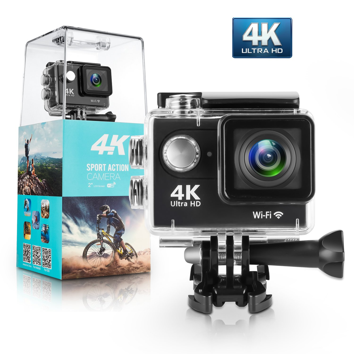 Action Camera, Amuoc M300 4K WiFi Ultra HD Waterproof Sport Camera with 2 Inch LCD Screen, 12MP 170 Degree Wide-Angle Lens , Including 100Ft Waterproof Case and Full Accessories Kits