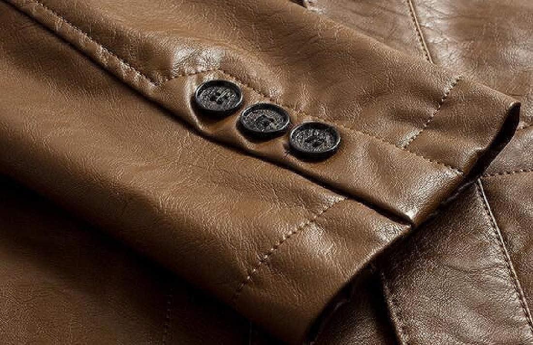 Fubotevic Mens Slim Fit 2 Button Casual Business Pu Leather Dress Blazer Jacket Suit Coat