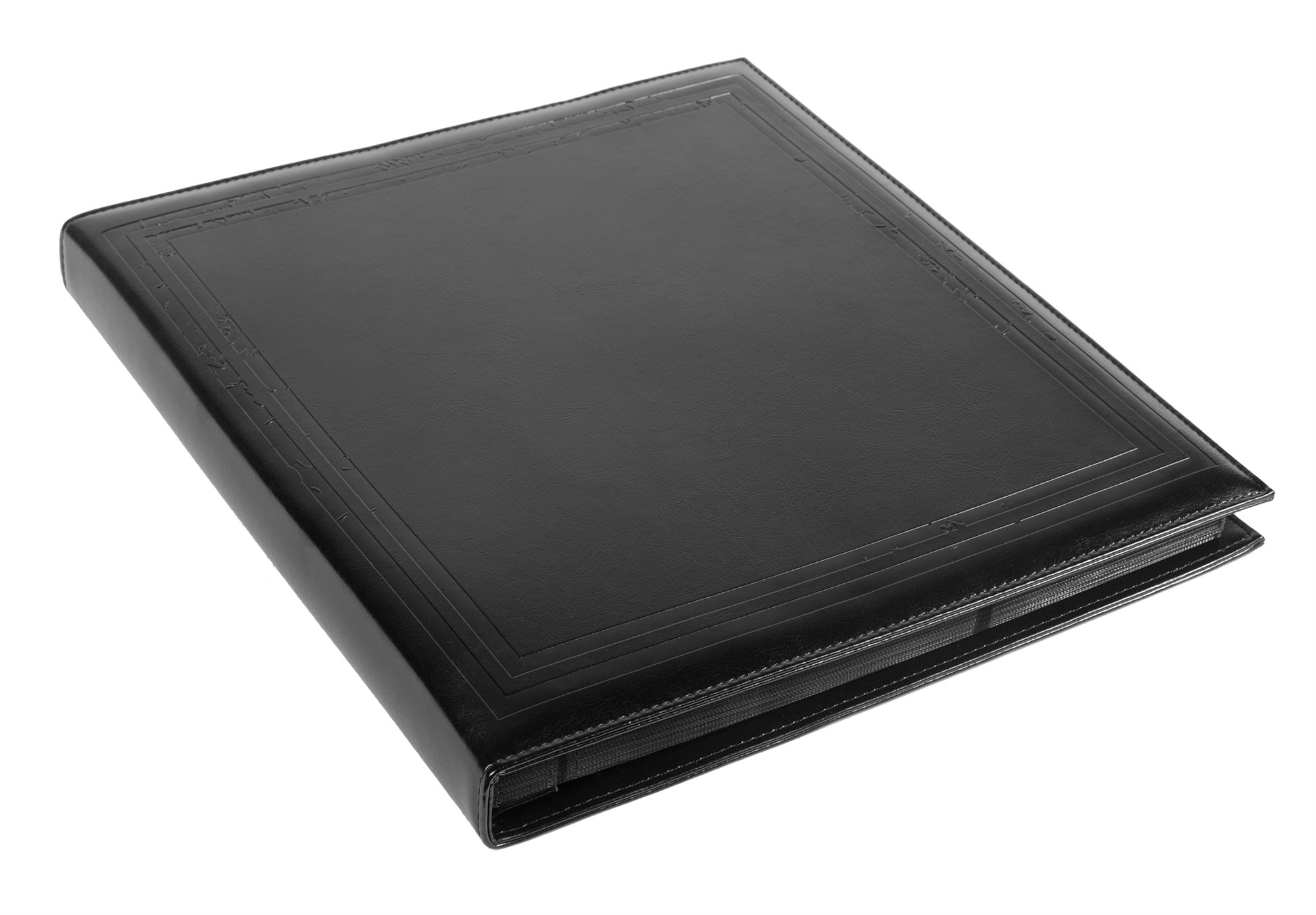 Black Faux Leather Family Photo Album with Embossed Borders – Holds 500 4x6 Photographs by Red Co.