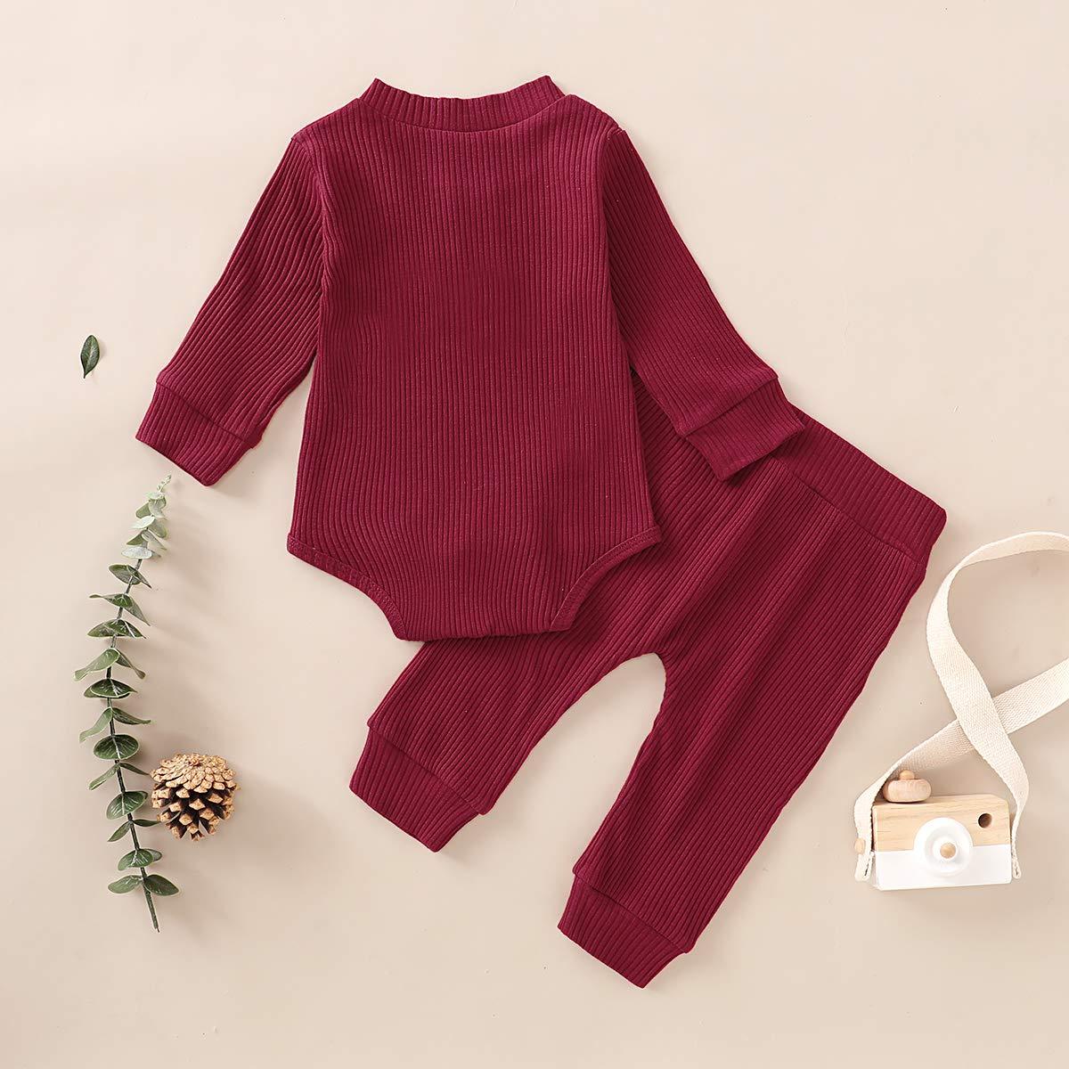 Newborn Baby Boy Girl Pajamas Snug-Fit 2-Piece Pjs Set Clothes Organic Cotton Long Sleeve Romper Pants Outfit