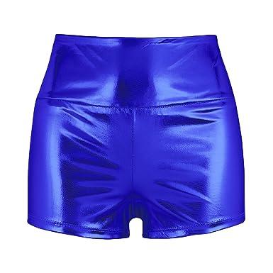 Taille Damen Metallic Hohe Shorts Hotpants Tiaobug Hose Kurze A5R4L3j