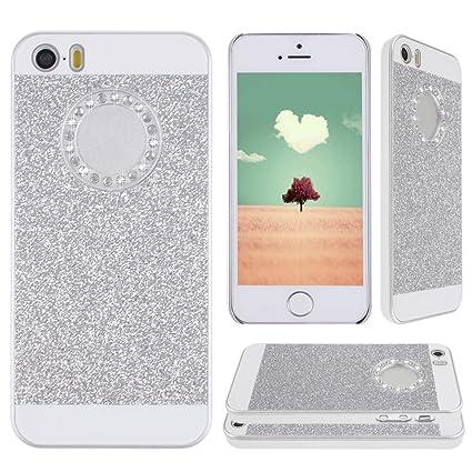 iPhone 5 SE, iPhone 5S Tapa, Asnlove Carcasas y funda policardonato dura brillo case diseño bling brillante tapa trasera para iPhone 5S/SE/5G-Plateado