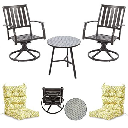 Superb Amazon Com 2 Piece Slat Back Swivel Chairs With Mosaic Evergreenethics Interior Chair Design Evergreenethicsorg